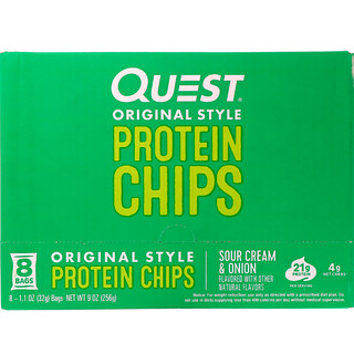 Quest Nutrition, Original Style Protein Chips, Sour Cream & Onion, 8 Pack, 1.1 oz (32 g) Each