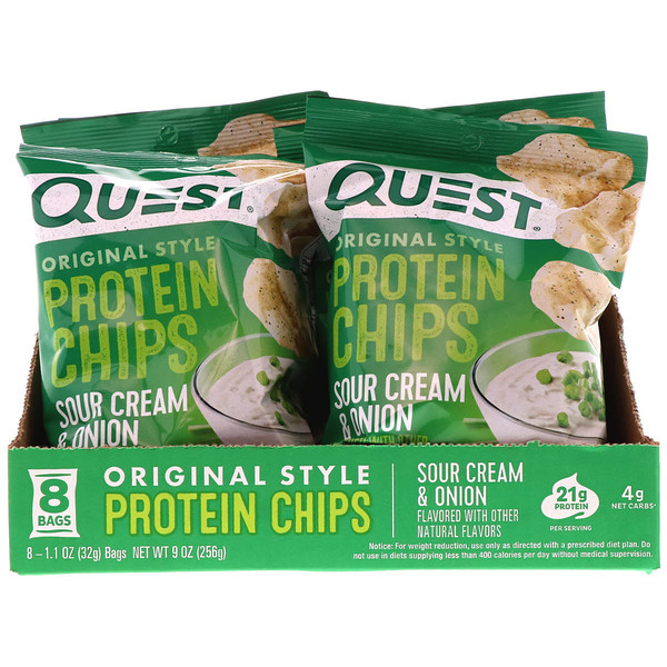 Quest Nutrition, Original Style Protein Chips, Sour Cream & Onion, 8 Pack, 1.1 oz (32 g) Each (Discontinued Item)