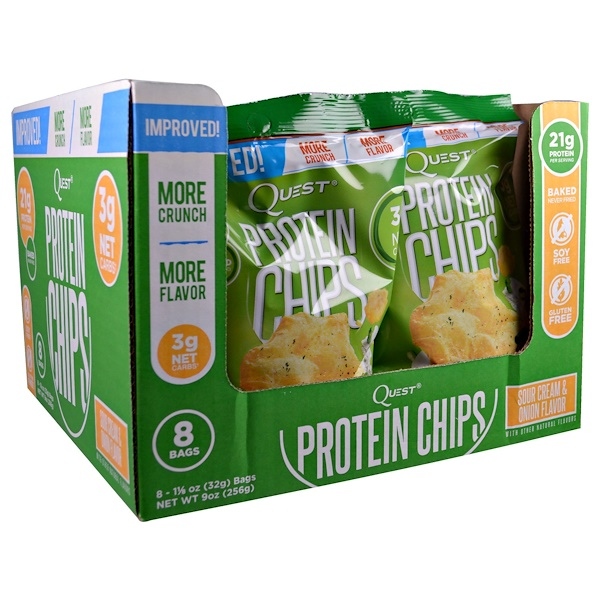 Quest Nutrition, Protein Chips, Sour Cream & Onion, 8 Bags, 1 1/8 oz (32 g) Each (Discontinued Item)