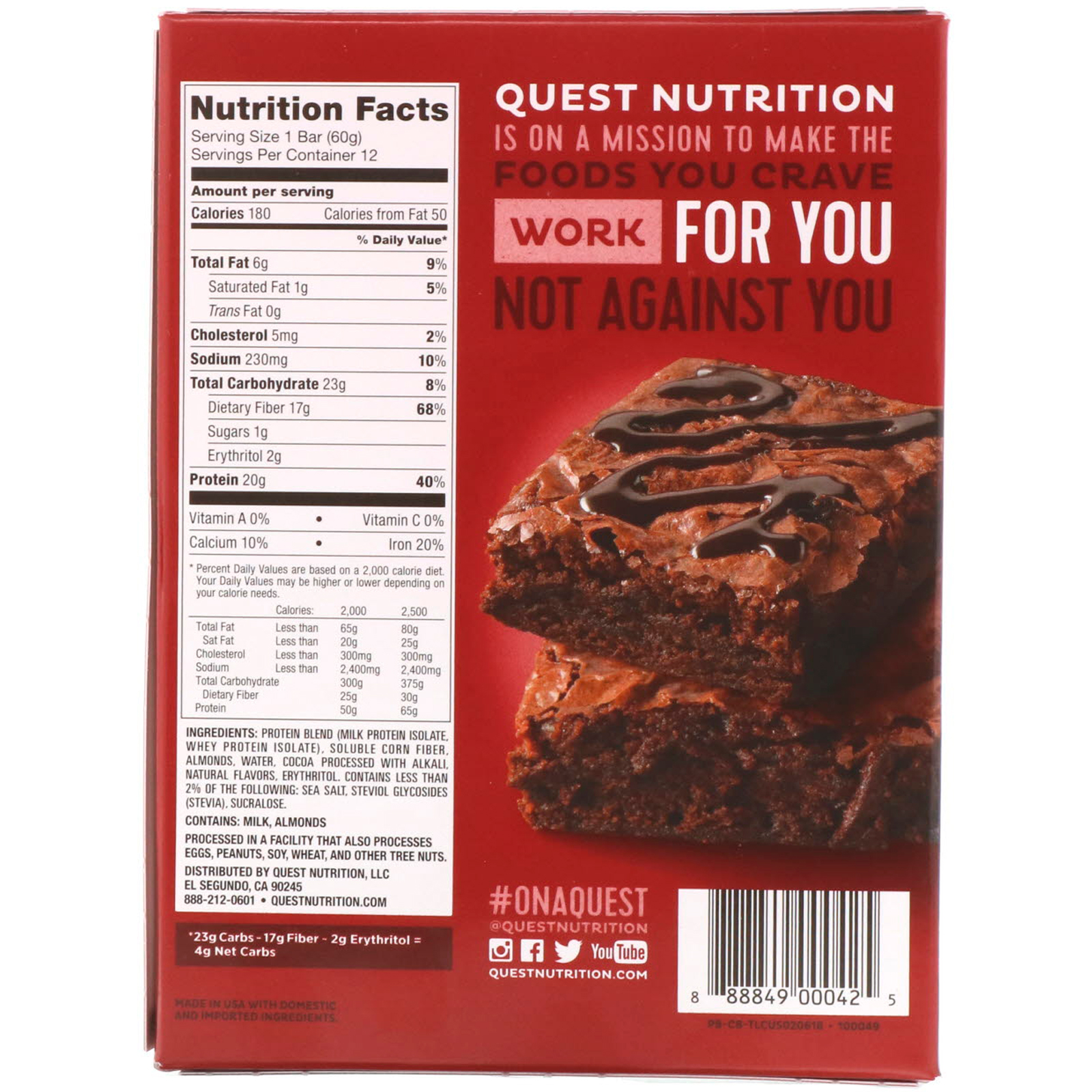 Quest Nutrition, Protein Bar, Chocolate Brownie, 12 Bars, 2.12 oz (60 g) Each