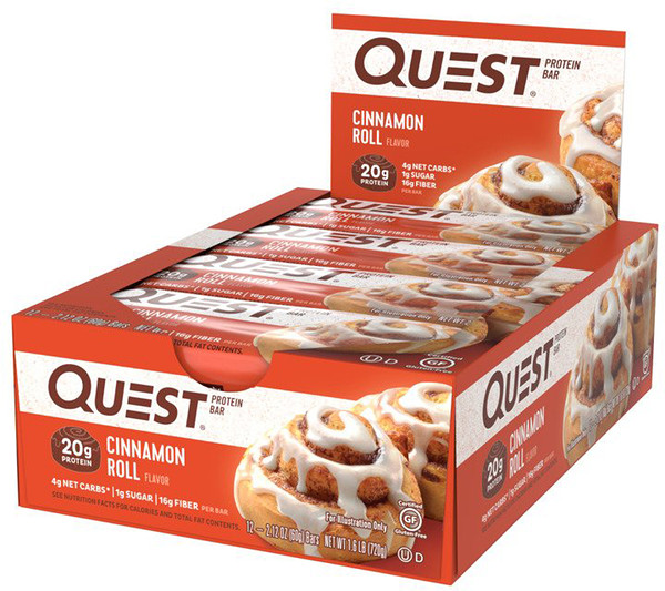 Quest Nutrition, QuestBar, Protein Bar, Cinnamon Roll, 12 Bars, 2.1 oz (60 g) Each