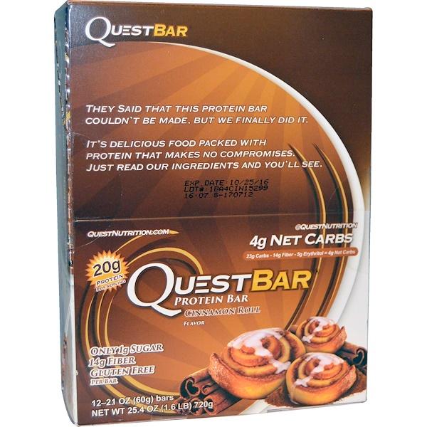 Quest Nutrition, QuestBar, Protein Bar, Cinnamon Roll, 12 Bars, 2.1 oz (60 g) Each