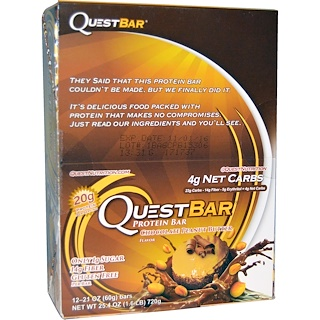 Quest Nutrition, QuestBar, Protein Bar, Chocolate Peanut Butter, 12 Bars, 2.1 oz (60 g) Each