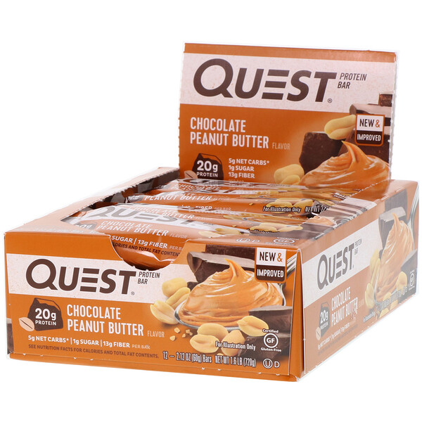 Quest Nutrition, Barra de proteínas Quest, mantequilla de maní con chocolate, 12 barras, 2,12 oz (60 g) cada una
