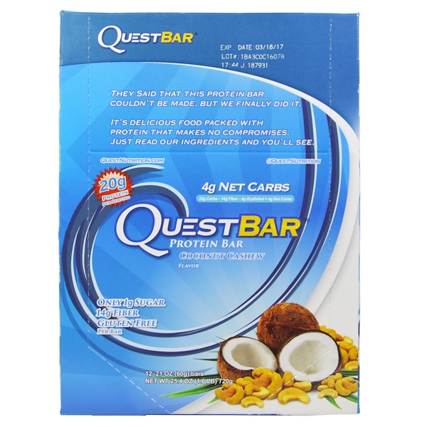Quest Nutrition, QuestBar, Protein Bar, Coconut Cashew, 12 Bars, 2.1 oz (60 g) Each (Discontinued Item)