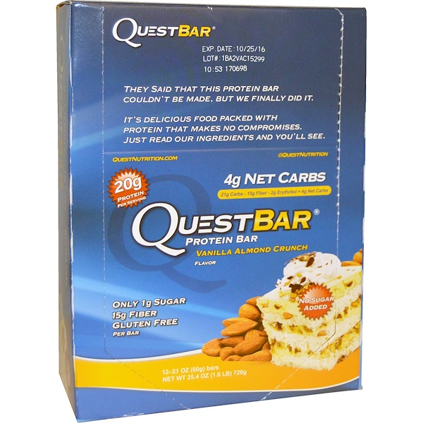 Quest Nutrition, QuestBar, Protein Bar, Vanilla Almond Crunch, 12 Bars, 2.1 oz (60 g) Each (Discontinued Item)