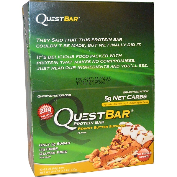 Quest Nutrition, QuestBar, Protein Bar, Peanut Butter Supreme, 12 Bars, 2.1 oz (60 g) Each (Discontinued Item)
