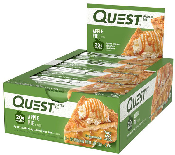 Quest Nutrition, QuestBar, Protein Bar, Apple Pie, 12 Bars, 2、1 oz (60 g) Each
