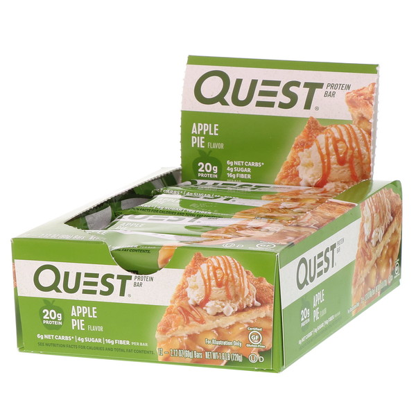 Quest Nutrition, Questbar, Protein Bar, Apple Pie, 12 Bars, 2.12 oz (60 g) Each (Discontinued Item)