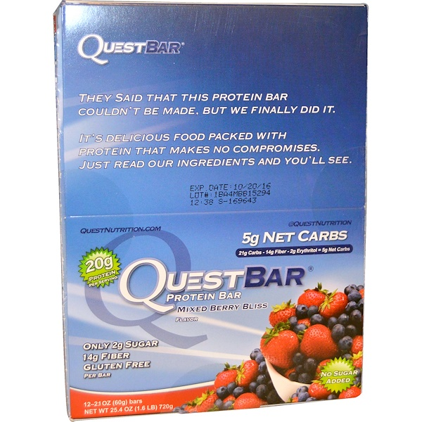 Quest Nutrition, QuestBar、プロテインバー、ミックスベリーブリス、 12本入り、1本あたり2.1 oz (60 g) (Discontinued Item)