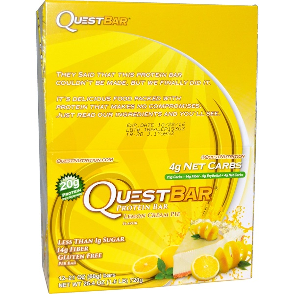 Quest Nutrition, QuestBar, Protein Bar, Lemon Cream Pie, 12 Bars, 2.1 oz (60 g) Each (Discontinued Item)