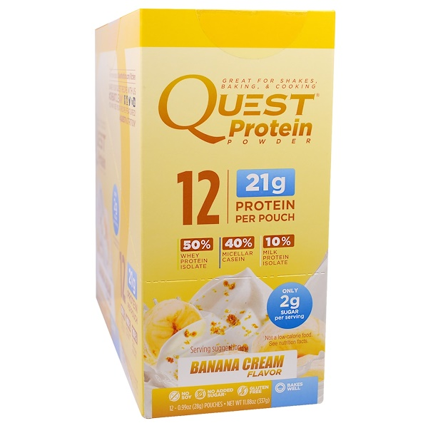 Quest Nutrition, Protein Powder, Banana Cream, 12 Pouches, 1.06 oz (30 g) Each (Discontinued Item)