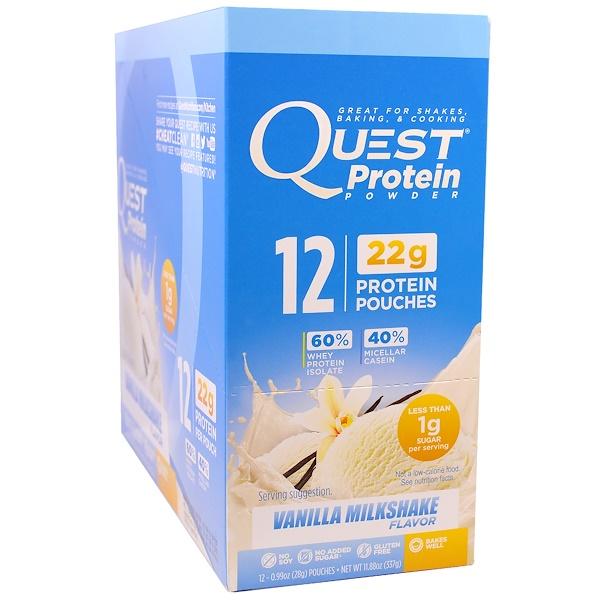 Quest Nutrition, Protein Powder, Vanilla Milkshake, 12 Pouches, 0.99 oz (28 g) Each (Discontinued Item)