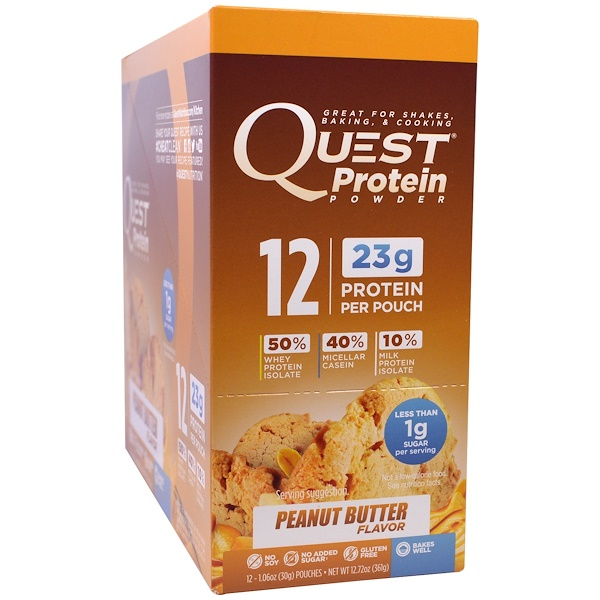 Quest Nutrition, Protein Powder, Peanut Butter, 12 Pouches, 1.06 oz (30 g) Each (Discontinued Item)