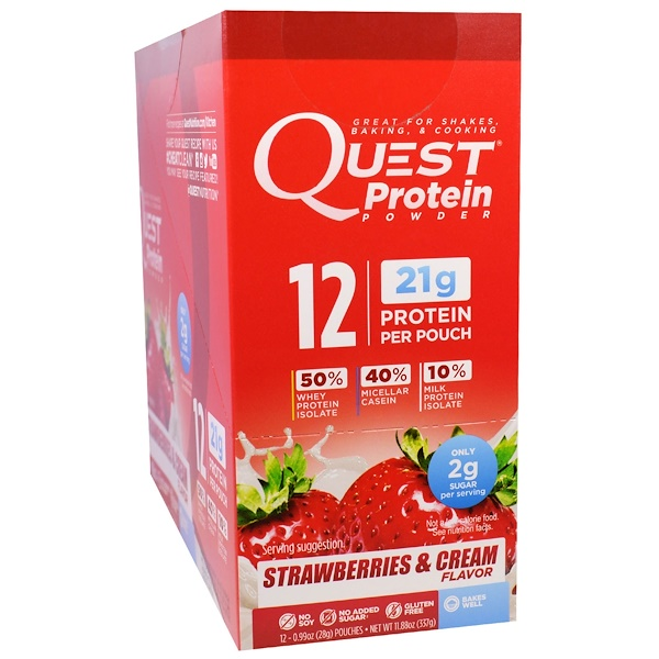 Quest Nutrition, Protein Powder, Strawberries & Cream, 12 Pouches, 0.99 oz (28 g) Each (Discontinued Item)