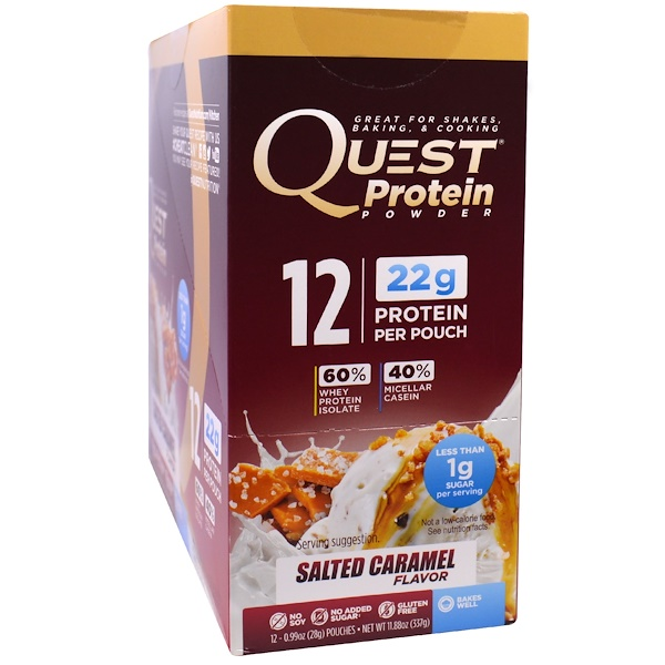 Quest Nutrition, Protein Powder, Salted Caramel, 12 Pouches, 0.99 oz (28 g) Each (Discontinued Item)
