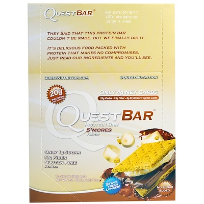 Quest Nutrition Protein Bar, S'mores Flavor, 12 Bars, 2.12 (60 g) Each