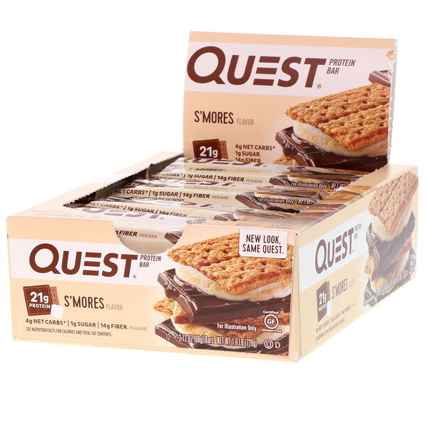 Quest Nutrition, Protein Bar, S'mores Flavor, 12 Bars, 2.12 (60 g) Each