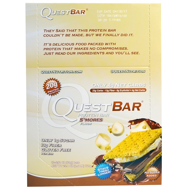 Quest Nutrition, Protein Bar, S'mores, 12 Bars, 2.12 (60 g) Each