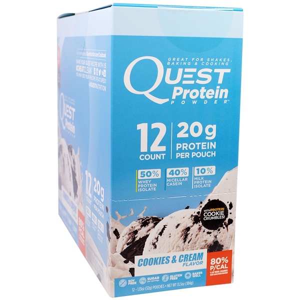 Quest Nutrition, Protein Powder, Cookies & Cream, 12 Pouches,1.13 oz (32 g) Each (Discontinued Item)