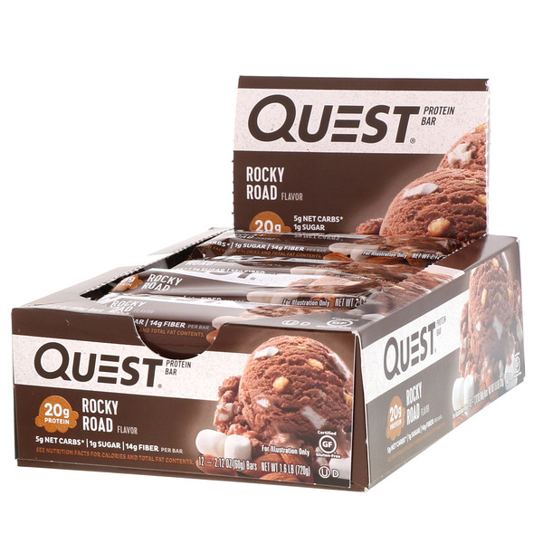 Quest Nutrition, Protein Bar, Rocky Road, 12 Bars, 2.12 oz (60 g) Each (Discontinued Item)