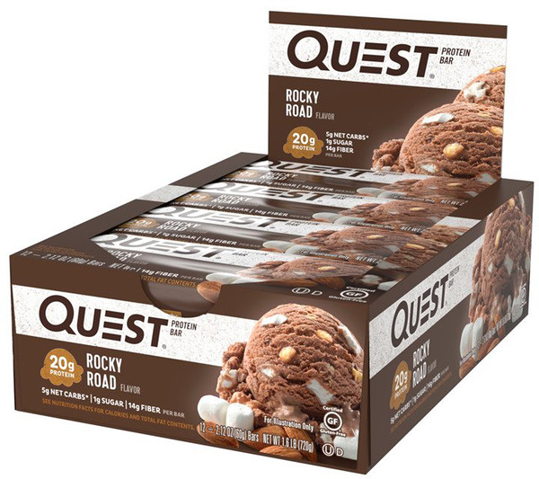 Quest Nutrition, QuestBar, Protein Bar, Rocky Road, 12 Bars, 2.1 oz (60 g) Each