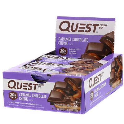 Купить Quest Nutrition Протеиновый батончик, шоколад с карамелью, 12батончиков, 60г (2, 12унции) каждый