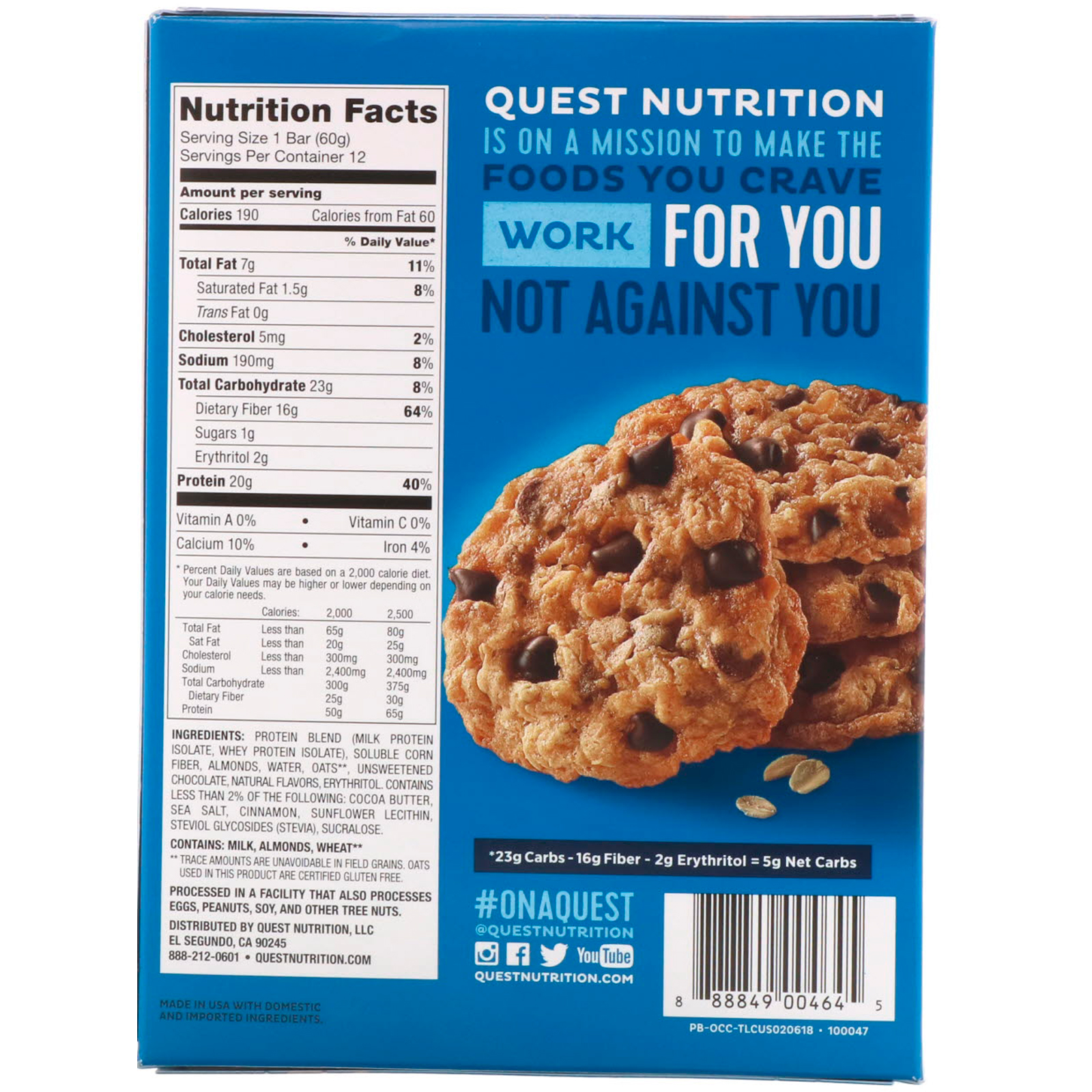 Quest Nutrition, Protein Bar, Oatmeal Chocolate Chip, 12 Bars, 2.12 oz (60 g) Each