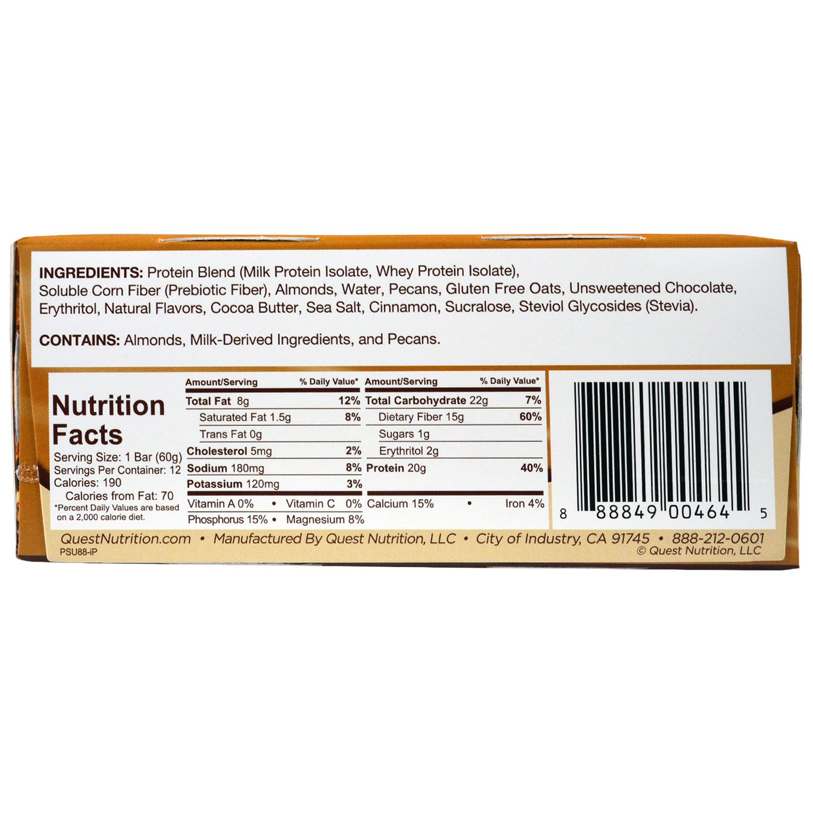 Quest Nutrition Questbar Protein Bar Oatmeal Chocolate Chip Reviews