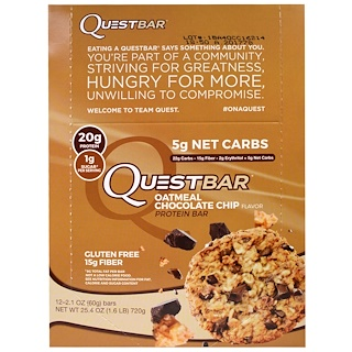 Quest Nutrition, QuestBar, Protein Bar, Oatmeal Chocolate Chip, 12 Bars, 2.1 oz (60 g) Each