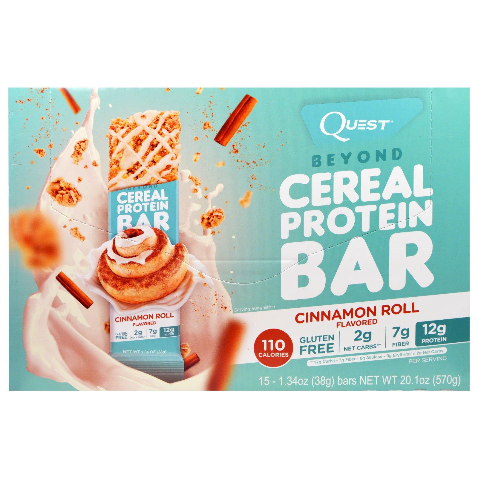 Quest Nutrition, Протеиновые батончики Beyond Cerealr с добавлением корицы, 15 батончиков, 1,34 унций (38 г) в каждом