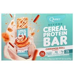 Квэст Нутритион, Beyond Cereal Protein Bar, Cinnamon Roll, 15 Bars, 1.34 oz (38 g) Each отзывы покупателей
