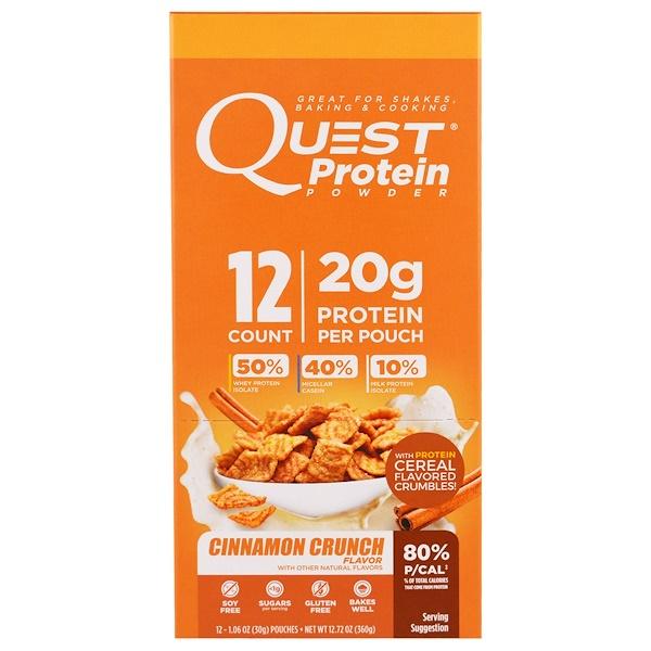 Quest Nutrition, Protein Powder, Cinnamon Crunch, 12 Pouches, 1.06 oz (30 g) Each (Discontinued Item)