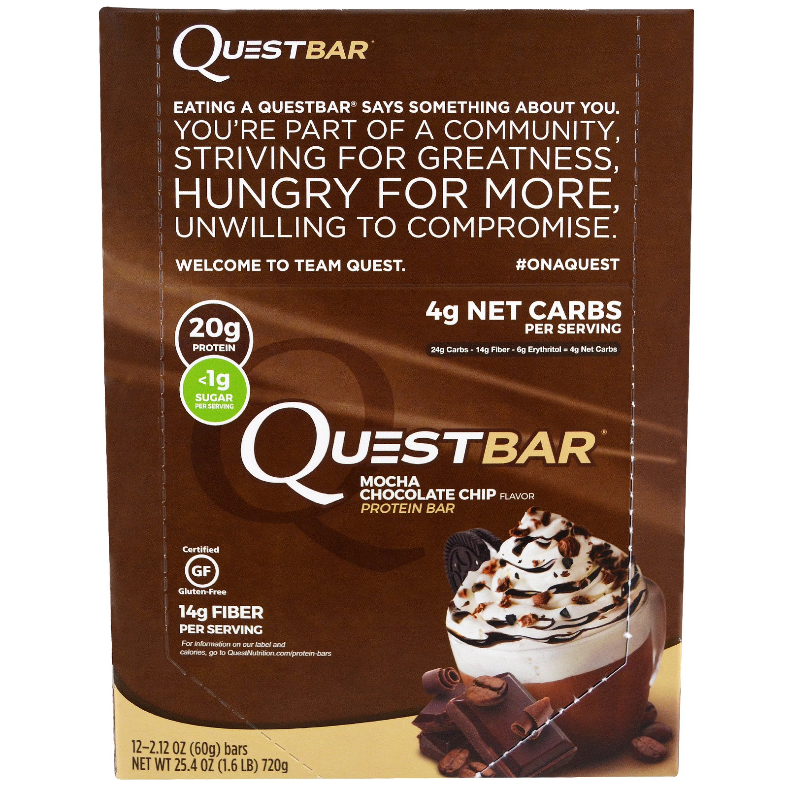 Quest Nutrition, QuestBar, протеиновый батончик, с шоколадной стружкой мокка, 12 батончиков, 2,12 унции (60 г) каждый