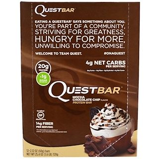 Quest Nutrition, QuestBar, Protein Bar, Mocha Chocolate Chip, 12 Bars, 2.12 oz (60 g) Each