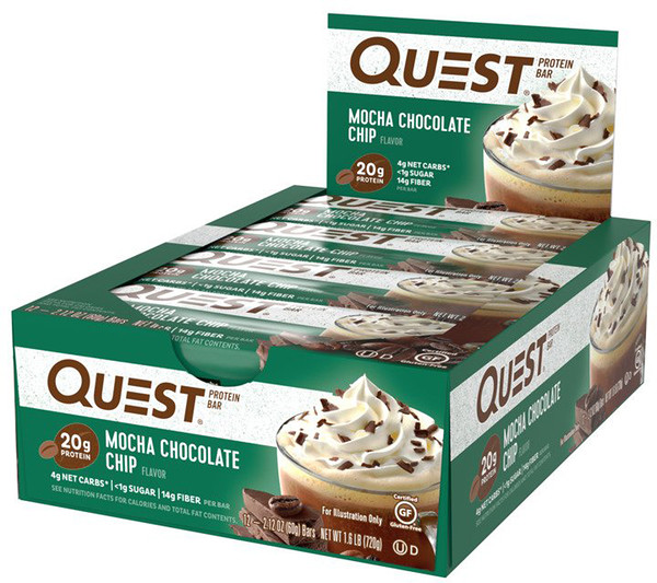 Quest Nutrition, QuestBar,蛋白棒,摩卡巧克力片,12條,2、12盎司(60克)