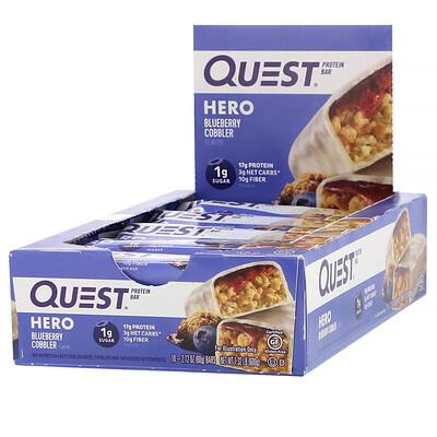 Фото - Протеиновый батончик Hero, пирог с голубикой, 10 батончиков, вес каждого 60 г (2,12 унции) замена приема пищи батончик со вкусом шоколадного печенья 5батончиков по 60г 2 12унции