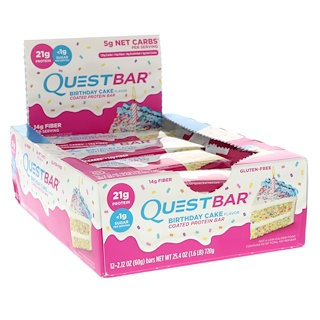 Quest Nutrition, Coated Protein Bar, Birthday Cake, 12 Pack, 2.12 oz (60 g) Each