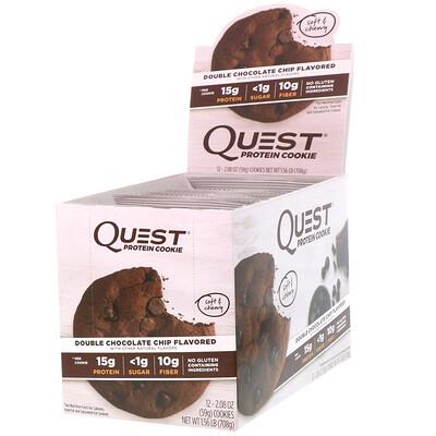 Купить Quest Nutrition Белковое печенье, двойная шоколадная крошка, 12 штук, по 59 г каждое