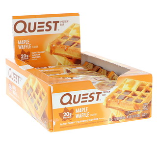 Quest Nutrition, Protein Bar, Maple Waffle, 12 Bars, 2.12 oz (60 g) Each