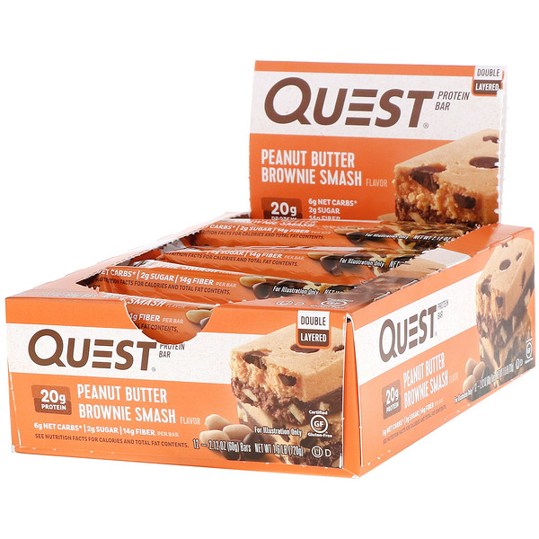 Protein Bar, Peanut Butter Brownie Smash, 12 Bars, 2.12 oz (60 g ) Each