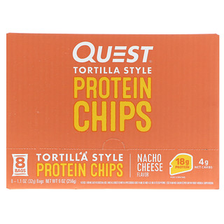 Quest Nutrition, Protein Chips, Nacho Cheese Flavor, 8 Bags, 1.1 oz (32 g ) Each