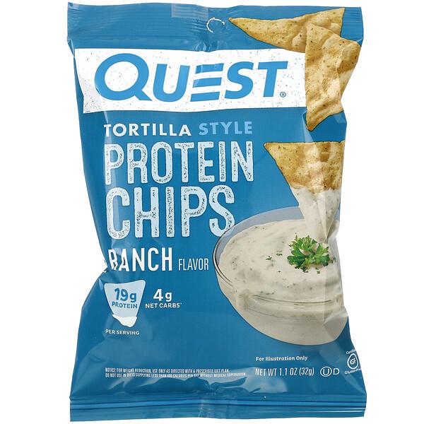 Quest Nutrition, トルティーヤスタイルプロテインチップス、ランチ味、8袋、各32 g (Discontinued Item)