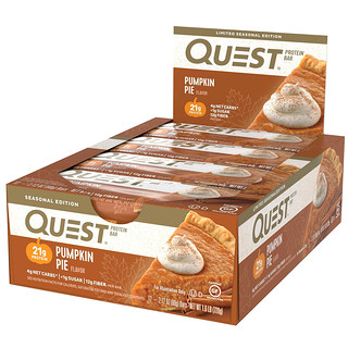 Quest Nutrition, プロテインバー、パンプキンパイ、12個、各2.12オンス (60g)