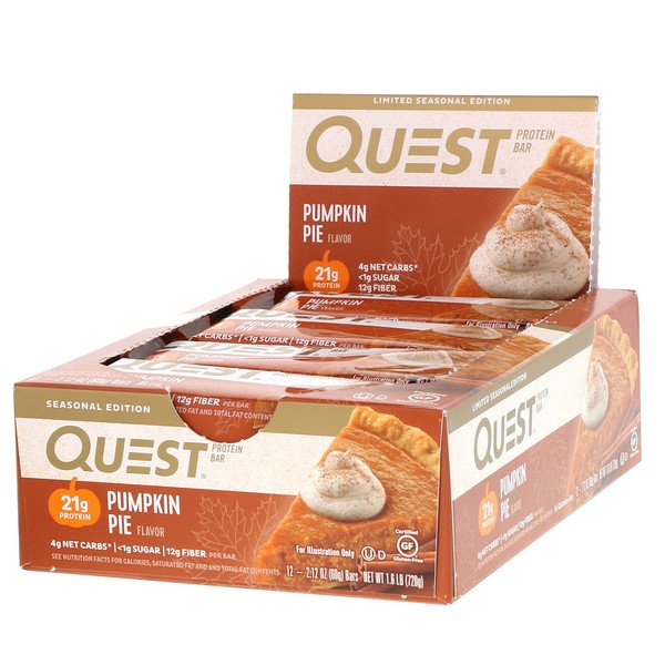 Quest Nutrition, Protein Bar, Pumpkin Pie, 12 Bars, 2.12 oz (60 g) Each (Discontinued Item)
