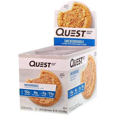 Quest Nutrition Протеиновое печенье Snickerdoodle, 12 штук, 2,04 унц. (58 г) каждая