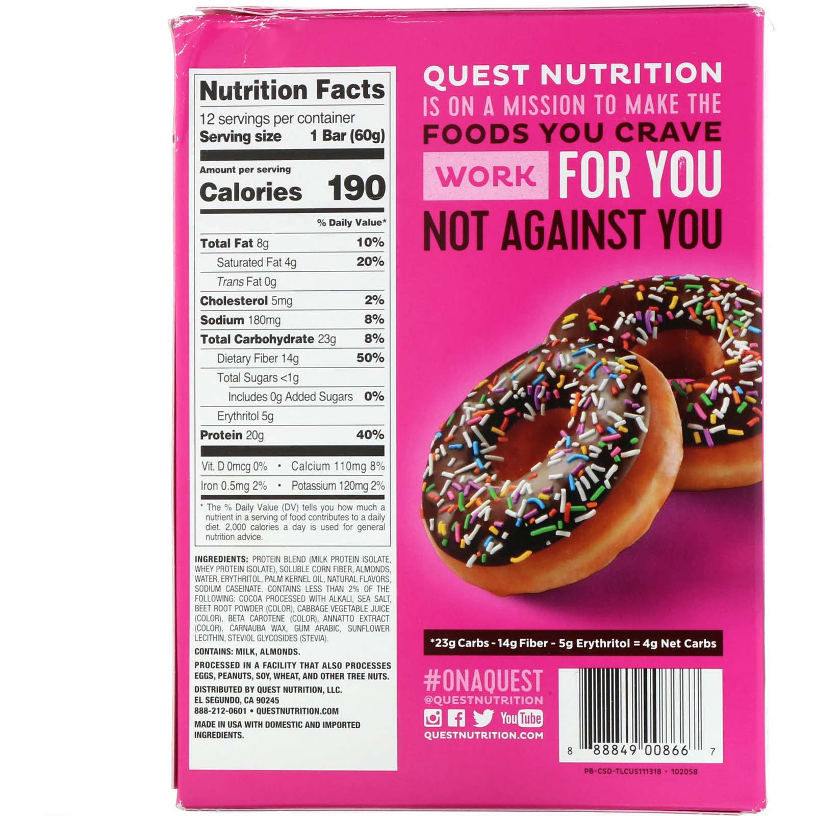 Quest Nutrition, Protein Bar, Chocolate Sprinkled Doughnut, 12 Bars, 2.12 oz (60 g) Each