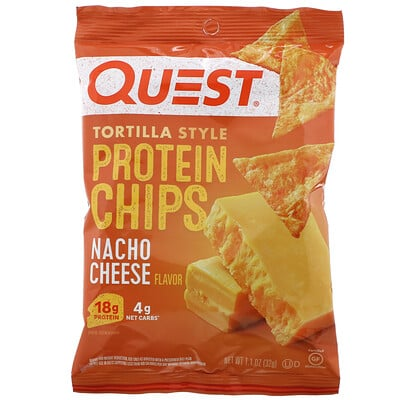 Quest Nutrition Tortilla Style Protein Chips, Nacho Cheese, 12 Bags, 1.1 oz (32 g ) Each