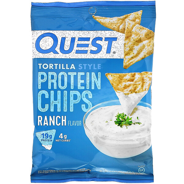 Quest Nutrition, Tortilla Style Protein Chips, Ranch, 1.1 oz (32 g )