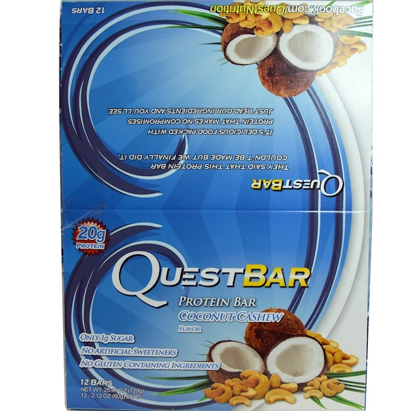 Quest Nutrition, Protein Bar, Coconut Cashew Flavor, 12 Bars, 2.12 oz (60 g) Each (Discontinued Item)